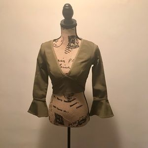 Olive green bell sleeve bandage crop top